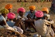 These men appeared to be having a very serious discussion at the Pushkar Camel Festival.
