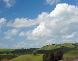 The green hills of northern Marin framed with cumulus clouds.