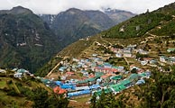 Perched at 10,000 feet, Namche Bazaar is an important center for local trade and for hikers to start acclimatizing for their climb towards Everest.