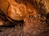 These Anasazi storehouse ruins were tucked under a deep overhang in a cliff face.